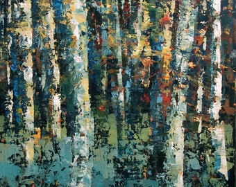 Birch Trees Painting 18 x 24 , Abstract Trees Art, Original Landscape Painting Spring Painting Forest Painting Modern Painting Woods Art