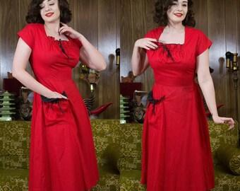 "1940s Red Dress   40s Polkadot Dress   40s Dress   1940s Dress   40s Cotton Dress   Red Polkadot Dress   New Look   40s Day Dress   27.5"""