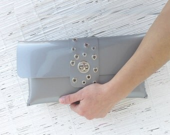 Silver clutch bag Envelope clutch bag Vegan bag purse Evening clutch bag Studded bag 25th annyversary gift for her womens gray clutch bag