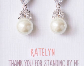 Bridesmaid Earrings Bridesmaid Jewelry Mother of the Bride Gift Personalized Bridesmaids Gifts Bridal Earrings Pearl Drop Earrings E194