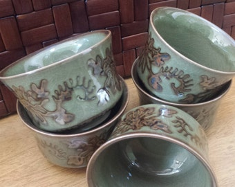 Asian lush green clay tea cups with metallic mottled design set of 5