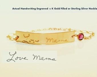 Custom Handwritten Bracelet Birthstone added  Actual Handwriting Bracelet Signature Bracelet engraved bracelet  Memorial handwriting jewelry