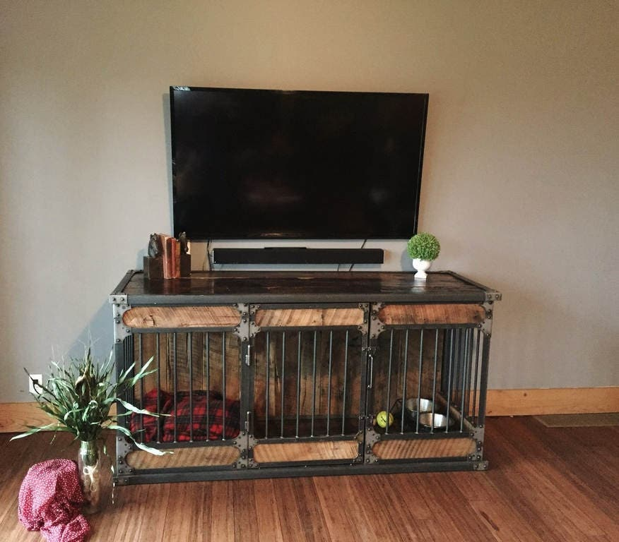 Dog Kennel Dog Crate Rustic Industrial Riveted Steel Dog