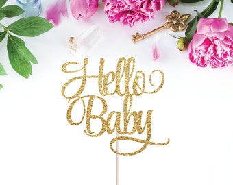 Baby Shower Cake Topper - Hello Baby Cake Topper - Hello World Cake Topper (customize to any colour for your party/baby shower)