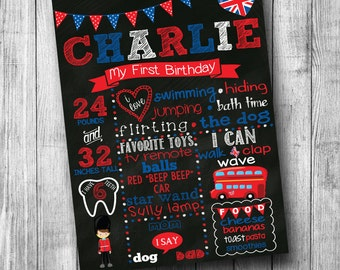 First Birthday London Themed Chalkboard Poster Girl Boy Customized 1st Birthday Chalk board Custom Printable Sign Red White Blue Big Ben