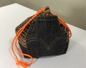 Project Bag, Drawstring style, Brown/Floral, from Upcycled jeans & Upholstery fabric samples