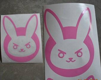 NERF THIS D.Va Bunny Logo Vinyl Sticker. Transfer Diva Vinyl Decal Bunny Sticker Overwatch DVA Cosplay Bumper Stickers D Va Jumpsuit Pink