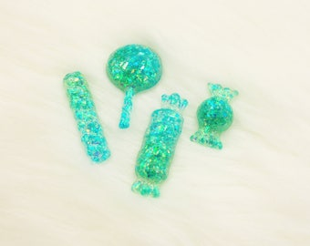 Glitter Resin Cabochon Set, Kawaii Candy Cabochon, Kawaii Cabochons, DIY Decoden Flatback Resin, Blue Green Glitter Resin Flatback Cabochon