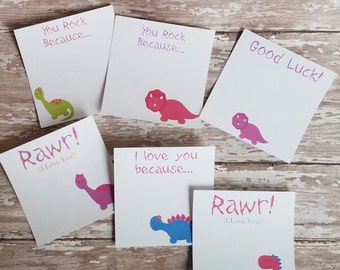 Dinosaur Lunch Box Notes, Mini Note Cards, Lunch box Love Notes, Mini Stationary, Love Notes, Mini Stationary (L002)