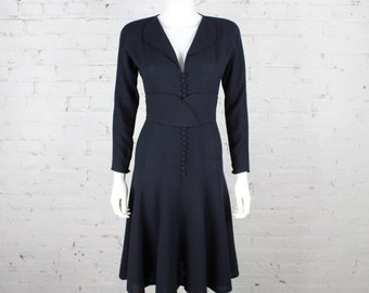 1970s Jean Muir Dress with Belt Navy blue wool crepe 30s 40s inspired Fit flare minimalist S