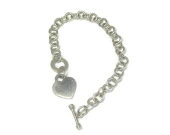 Vintage Sterling Toggle Heart Bracelet 7.5 Inches