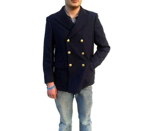 New Unissued Double breasted Italian Navy wool peacoat pea