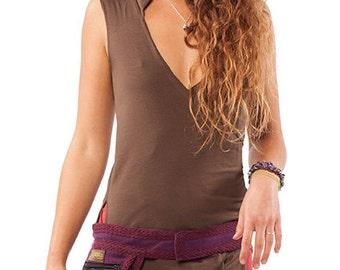 BROWN PIXIE WRAP, organic cotton wrap top, pixie top, xxl psy trance clothing, pixie clothing, green pixie hood top, plus size wrap dress