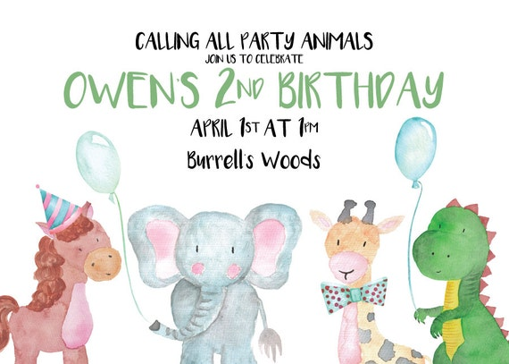 Calling all Party Animals Birthday Invitation (DIGITAL COPY)