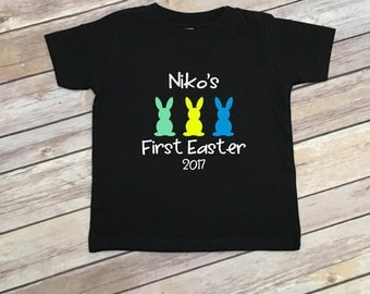 Baby First Easter Outfit - Baby Boy Easter Onesie Bodysuit - My First Easter Shirt - Personalized Baby Boy Clothing - First Easter Tee