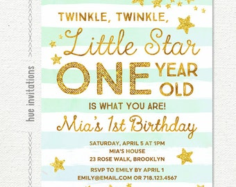 twinkle twinkle little star first birthday invitation, mint aqua gold glitter stars girls 1st birthday party invitation, printable file