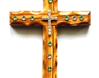 Decorative Wall Crosses - Olive Wood - Wall Cross - Swarovski Crystals