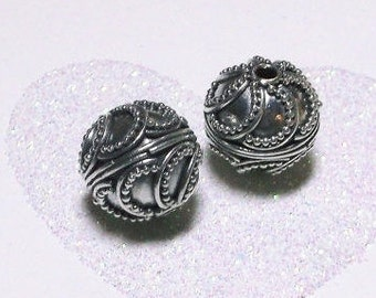 20% OFF SALE Bali Sterling Silver 12mm Ornate Focal Bead #1192 - (1)