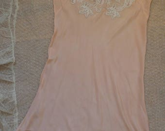 1930's French, Art Deco, pink silk slip, cream lace trimmed lingerie, Hollywood glamour, boudoir