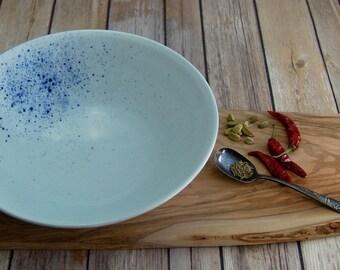 Large Hand Thrown Blue and White Porcelain Bowl, Ceramic Serving Bowl, Handmade Porcelain Salad Bowl, Pasta Bowl, Centerpiece Bowl, Cobalt