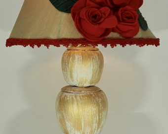 OOAK Gold and White Apple Ceramic Lamp with Red Felt Flower Lampshade