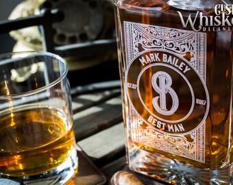 Whiskey Decanter, Personalized Decanter, Custom Whiskey Decanter, Groomsmen Gift, Set With 2 Glasses,  Wedding Gift, Gift For Men
