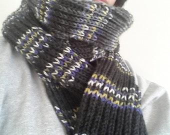 Knit long pure wool scarf. Knit long striped pure wool scarf. Knit long luxury wool scarf. Knit long ribbed pure wool scarf.