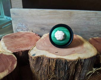 Zen Black, White, and Green Button Ring