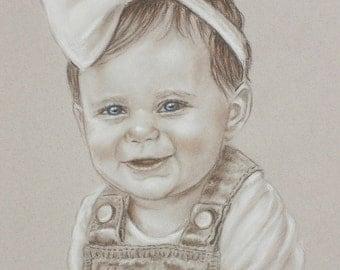 Baby Portrait Custom Portrait Drawing Charcoal Sepia Pencil