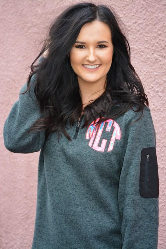 lilly pulitzer monogrammed sweater fleece quarter zip pullover