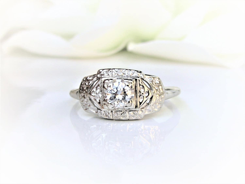 art deco engagement ring diamond wedding ring 14k white. Black Bedroom Furniture Sets. Home Design Ideas