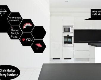 Set Of Custom Made Premium Polygon Wall Chalkboard Vinyl Decal Sticker Free Chalk Marker