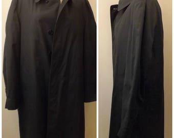 Vintage Men's London Fog Maincoats Black Trench Coat Size 42 R