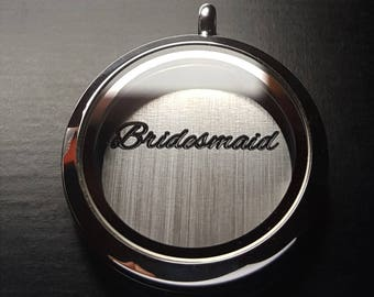 Bridesmaid Window Plate for Large Floating Lockets-Wedding Lockets-Bridesmaid Gift Idea