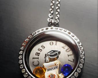 Class of 2017 Graduation Floating Locket Necklace-Personalize w/School Colors-Great Gift Idea