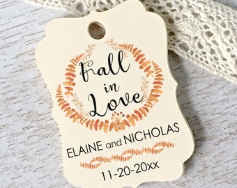 Fall in love tags, wedding favor tags, fall wedding tags, thank you tags, autumn wedding, engagement party , bridal shower - 30 count(tg49)