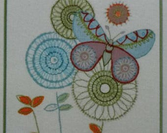 Dimensions Handmade Crewel Embroidery Kit ~ Butterfly Modern Flowers Floral