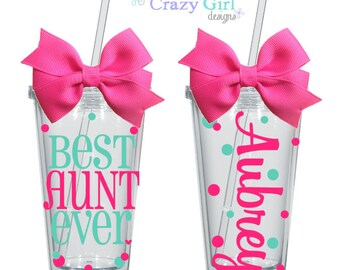 Best Aunt Cup Acrylic Tumbler 16oz Tia Auntie Gift Cup Kitchen Accessory Everything Else 16 oz. Acrylic Cup BPA Free Custom