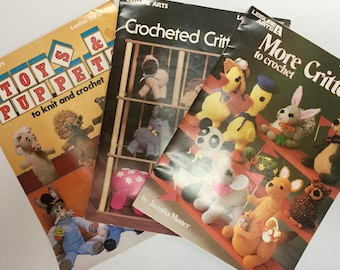 Crochet Pattern Toys Puppets Critters Stuffed Animals Vintage 1970s