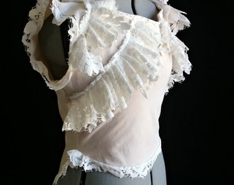 Antique-style Victorian Blouse with Seashells, Shipwreck, Bohemian Lace Ruffles Custom Size