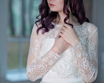 Primrose - lace topper / bridal lace topper / lace jacket / bridal cover up  / wedding separates / bridal lace cover up