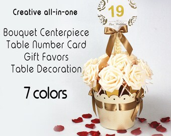 Set of 5 Roses Bonquet Wedding Table Centerpiece + Table Number holders + Gifts Favors   Wedding Decors