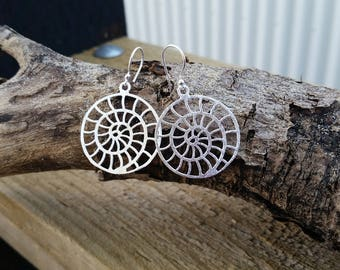Spiral shell sacred geometric fibonacci earrings // sterling silver