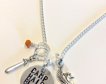 "Percy Jackson, Heroes of Olympus, Trials of Apollo Inspired Hand-Stamped Necklace - ""Camp Half Blood"""