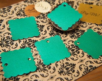 "Green Pearlised 1.5"" Square Luxury Gift Tags, Blank Tags, Wishing Tree Tags, Wedding favour tags, Jewellery Tags, wedding favors 1.5 inch"