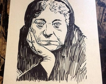 Helena Blavatsky original ink portrait drawing