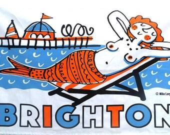 Tea towel by Mike Levy 'Brighton Mermaid'