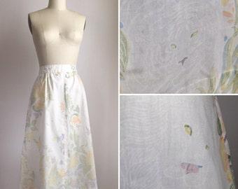 70s soft cotton skirt M ~ vintage a-line novelty print skirt with pockets