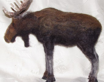 Handmade Needle Felted Bull Moose, Needle Felted Wool Sculpture, Realistic Bull Moose
