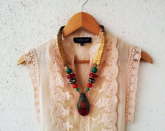 Red Necklace/Statement Necklace/Bohemian Gold Necklace/Beaded Pendant Necklace/Tribal Necklace/Chunky Tibetan Necklace